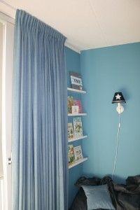 Kinderkamer gordijnen spijkerstof jongenskamer Curtains, Shower, Home Decor, Rain Shower Heads, Blinds, Decoration Home, Room Decor, Showers, Draping