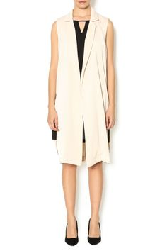 Long blazer with side zippers and an open front.   Long Sleeveless Blazer by Double Zero. Clothing - Jackets, Coats & Blazers - Vests New York City Manhattan, New York City