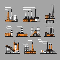 Illustration about Factory icons. industrial factory icons on gray background. Illustration of environment, petrochemical, heavy - 47193959 Graphic Design Illustration, Digital Illustration, Factory Icon, Vector Power, Digital Marketing Strategy, Gray Background, Geometric Art, Pixel Art, Vector Free