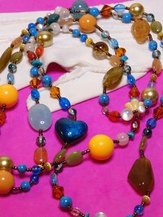 Colorful Glass and Plastic Beaded with Fresh Water Pearls Long Necklace