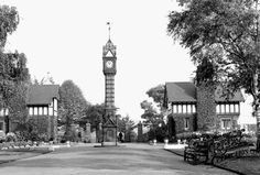 Part of Queens Park Crewe - the park keepers cottages and clock tower Town Names, Vintage London, Stoke On Trent, Main Entrance, Take Me Home, Old Houses, Old Photos, Maine, England