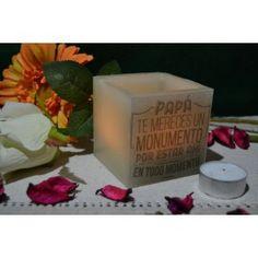 Fanal cubo mini Mensaje papá 7x7cm. Velas huecas (no se deshacen) especial día del padre en www.luzdecera.com
