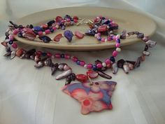 Pink and Purple Freshwater Pearls With Shell Butterfly Necklace-Tri Strand on Etsy, $75.00