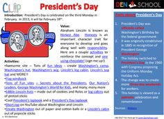 President's Day - FREE CLIP (Creative Learning In a Pinch). Includes printable worksheets, party craft and snack ideas. February Holidays, Major Holidays, Math Worksheets, Printable Worksheets, Homeschool Math, Homeschooling, Stop Bullying, Decoding, Presidents Day