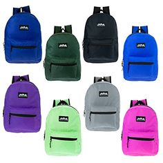 17″ Wholesale Kids Classic Backpack in 8 Solid Colors – Bulk Case of 24  Bookbags 4dd17d7fb0451