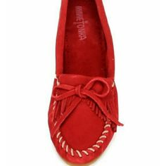 Minnetonka red kilty suede moc Beautiful red Minnetonka suede moccasin size 11 in great used condition only worn a handful of times Minnetonka Shoes Moccasins