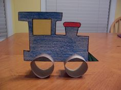 cut  paper towel rolls for wheels (with slits in the wheels so you can slide them on the train).