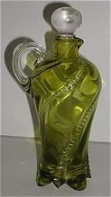 Old EAPG Early American Pattern Glass Green Cruet With Stopper Swirled Beads  & Footed