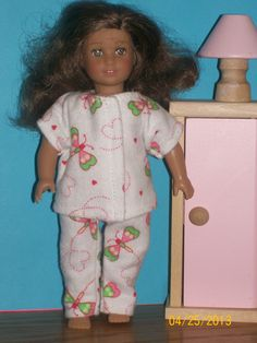 "Adorable American Girl Mini (6 1/12"") Doll Cotton Flannel Pajamas. Available on Etsy for $5.49 by Doll Clothes Forever."