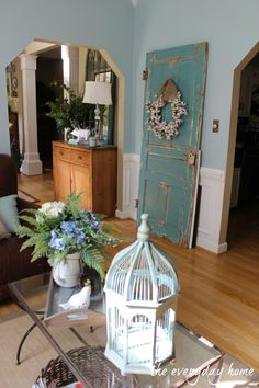 A beautiful chipped old door. A Southern Home Tour at The Everyday Home