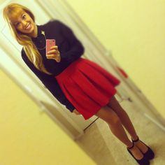 Eight Sixty Black Blouse, Collar Tips, Forever 21 Hot Pink Skirt, Aldo Suede Wedges