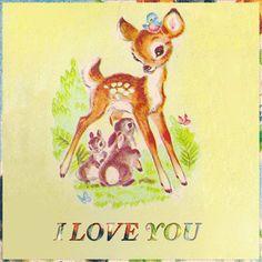 i love this bambi picture! Hirsch Illustration, Deer Illustration, Vintage Pictures, Vintage Images, Vintage Cards, Vintage Postcards, Woodland Animals, Woodland Creatures, Illustration Mignonne