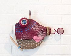 Driftwood Wall Art, Reclaimed Wood Wall Art, Paper Mache Sculpture, Fish Sculpture, Recycled Art, Recycled Materials, Blue Moon Beer, Little Fish, Orange Crush