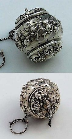 Rare Simons Repousse Sterling Tea Ball A rare sterling silver tea ball with hand chased flowers and a hinged lid by Simons of Philadelphia. Tea Strainer, Tea Infuser, Vintage Silver, Antique Silver, Vintage Tea, Objets Antiques, Tea Caddy, Tea Accessories, Tea Set