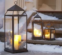 """Lantern to build Christmas wedding bouquet around? Pottery Barn prices range from $29-$99. Small is 5"""" square,12"""" high & holds a 3"""" pillar candle."""