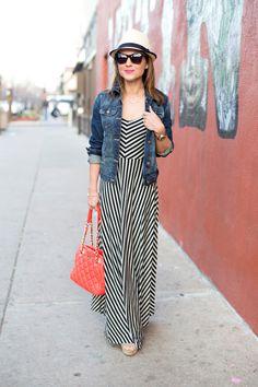 striped maxi dress + denim vest