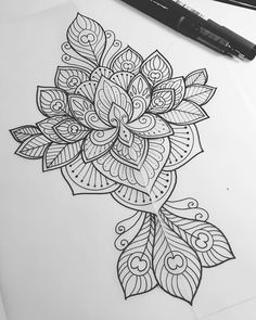 Lotus and peacock feather design for Alexandra   #tattoo #tattoodesign…