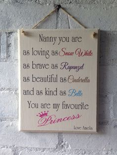 Nanny Wooden Sign Disney Princess Theme Great For A Mothers Day Gift By AceSentimentalGifts