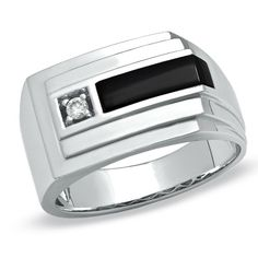 Elegant sophisticated with modern flair this mens ring is sure to suit his sophisticated taste. Fashioned in cool 10K white gold this ring features a bold 10.0 x 3.0mm rectangular black onyx sidebyside with a single diamond accent. The cleverly layered and stepped shank creates depth while a sharp angle down the entire band adds a unique touch the style. Polished to a brilliant shine this ring is certain to make an impression.                                     View product  #Fashion…
