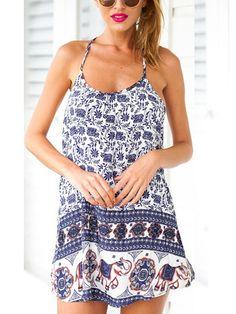 Blue Geo-Tribal Print Chiffon Shift Dress