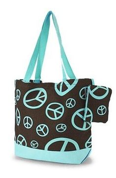 Cute! Peace Sign Print Tote Bag Purse Turquoise & Brown