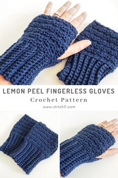 These lemon peel stitch fingerless gloves are warm and convenient. This free crochet pattern is a simple holiday gift everyone can use. Easy Crochet, Free Crochet, Knit Crochet, Crochet Hats, Crochet Fingerless Gloves Free Pattern, Fingerless Mitts, Crochet Hand Warmers, Crochet Clothes, Lana