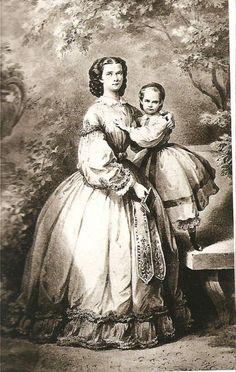 Kaiserin Elisabeth von Österreich, geborene Herzogin in Bayern, mit ihrer Tochter Erzherzogin Gisela von Österreich, der späteren Prinzessin Leopold von Bayern