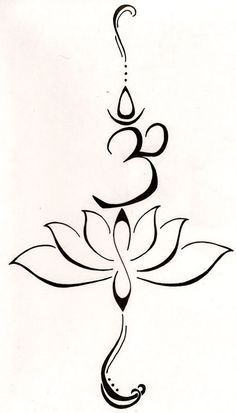 """A lotus to represent a new beginning, or a hard time in life that has been overcome and the symbol """"Hum"""" from the Buddhist mantra to stand for love, kindness and protection...this symbol is also said to purify hatred and anger. GREAT SYMBOLIC TATTOO :)"""