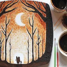 Peintures au café sur feuilles darbre par Ghidaq alNizar  Dessein de dessin