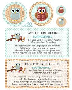 Such a cute gift idea! Pumpkin Cookie Recipe and Free Printable at… Pumpkin Cookie Recipe, Pumpkin Cookies, Cookie Recipes, Homemade Gifts, Diy Gifts, Apple Gifts, Fall Cookies, Fall Gifts, Recipe Cards