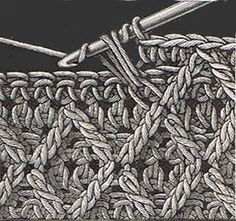 Heirloom Crochet - Raised Stitch with Crossed Trebles.  This is the pattern Ethan wants, now to figure out how to make the raised trebles one color, and the background another