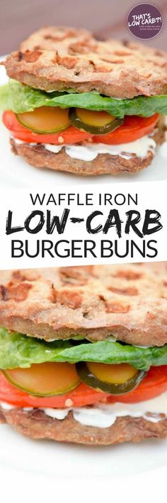 Easy Low Carb Waffle Iron Burger Buns for our summer burgers or sandwiches! Just 5-Ingredients for a protein packed burger bun. ~ https://www.thatslowcarb.com #lowcarb #lowcarbrecipes #lowcarbdiet #keto #ketodiet #ketorecipes #healthy #glutenfree