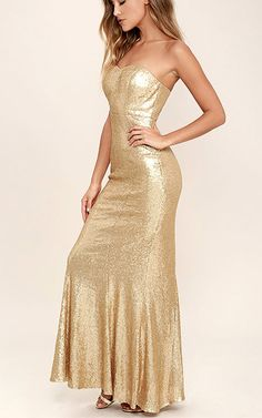 Majestic Muse Gold Strapless Sequin Maxi Dress via @bestchicfashion