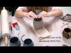 ▶ How to make a Tripod Textured Slab Cup! (Ceramics II classes) - YouTube