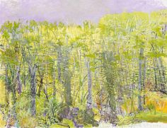 Wolf Kahn, Against a Yellow Rise, 2013. Oil on canvas, 64 x 84 inches.