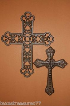 (2)pcs, CLASSIC ORANATE CROSS DECOR CAST IRON CROSS CHRISTIAN GIFT WIFE GIFT