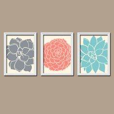 Grey Coral Aqua Flower Burst Dahlia Bloom Petals Artwork Set of 3 Trio Prints Wall Decor Abstract Art Picture Bathroom Bedroom on Etsy, $25.00