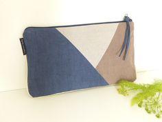 Nouveauté - sac pochette mariage - grande pochette soirée - bleu marine - gris…