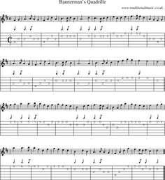 Scottish Tune, score, Guitar chords & tabs: Bannermans Quadrille