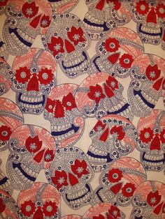 20 Inch Remnant Indigo Skull from by LollypopFabricShoppe on Etsy, $4.75