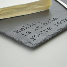 Fun Engraved Slate Cheese Board by Winning Works, the perfect gift for Explore more unique gifts in our curated marketplace. Slate Cheese Board, Cheese Boards, Presents For Mum, The Slate, Slate Art, Housewarming Present, Diy Cutting Board, 30 Gifts, Dremel