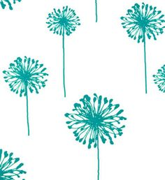 Dandelion White / True Turquoise | Online Discount Drapery Fabrics and Upholstery Fabric Superstore!