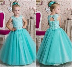 Cute Mint Green Girls Pageant Gowns 2016 Floor Length Long Flower Girl'S Dresses Wedding Party Gowns Kids Wear Lace First Communion Dre Glitz Pageant Dresses For Girls Glitz Pageant Dresses For Sale From Angelia0223, $127.17  Dhgate.Com