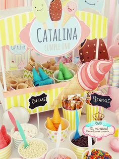 Topping bar at an ice cream birthday party! See more party planning ideas at CatchMyParty.com!
