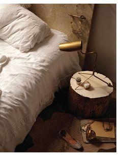Sweet Paul Magazine - Summer 2012 - Page 22-23 stump nightstand, brass lamp