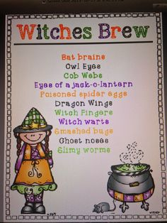 Witches' Brew - recipe and writing craft Halloween Week, Halloween Crafts For Kids, Halloween Themes, Writing Activities, Activities For Kids, Owl Eyes, Witches Brew, First Grade, Language Arts