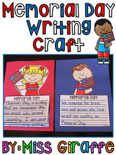 Memorial Day craft for writing that is so super simple and easy and only a dollar! No prep! You just print & kids write, color, cut, and glue - instant bulletin board! Kindergarten Lessons, Preschool Curriculum, Kindergarten Activities, Writing Activities, Preschool Activities, Homeschool, Memorial Day Activities, Holiday Activities, Holiday Crafts
