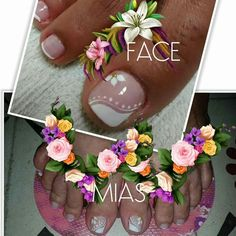 Toenail Art Designs, Pedicure Designs, Pedicure Nail Art, Nail Polish Designs, Pretty Toe Nails, Cute Toe Nails, Love Nails, Nail Polish Art, Toe Nail Art