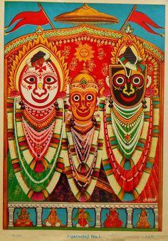 Modern bazaar art version of the Jagannath Trio. 20th century.
