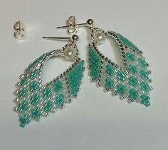 Russian Leaf Earrings in aquamarine and white